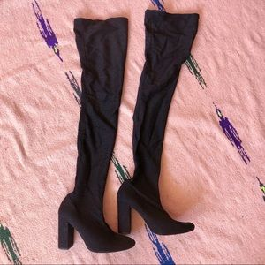 Zara Shimmer Stocking Thigh High Boots